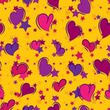 Nahtloser wiederholender Hintergrund von Herzen und von Sternen stock abbildung