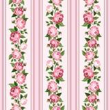 Nahtloses abgestreiftes Muster der Weinlese mit rosa Rosen Lizenzfreie Stockbilder