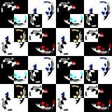 Nahtloses abstraktes geometrisches Muster auf einem Schachhintergrund mit Fischen Stockfotos