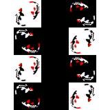 Nahtloses abstraktes geometrisches Muster auf einem Schachhintergrund mit Fischen stockbilder