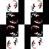 Nahtloses abstraktes geometrisches Muster auf einem Schachhintergrund mit Fischen stockbild