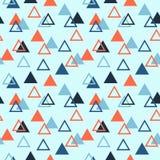 Nahtloses abstraktes geometrisches Muster mit den gefüllten Dreiecken und leeren sich Orange, hell und dunkelblau vektor abbildung