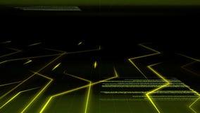 Nahtloses abstraktes helles Animationshintergrundmuster des Stroms der elektronischen Schaltung mit dem Computerquellcodebewegen
