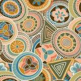 Nahtloses abstraktes Muster des Vektors in der afrikanischen Art Lizenzfreie Stockfotografie