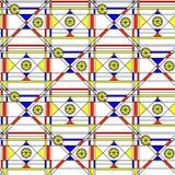 Nahtloses abstraktes Muster Geometrischer Druck bestanden aus blauem, rotem, gelbem Polygon und Dreieck und schwarzen Linien auf  Lizenzfreie Stockbilder