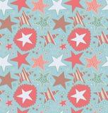 Nahtloses abstraktes Muster mit gezogenen Sternen Sternenklarer dekorativer Hintergrund Nette Beschaffenheit des Gekritzels stock abbildung