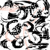 Nahtloses abstraktes Muster mit Hand gezeichneten Formen und Elementen Modische Beschaffenheit des Vektors Helles kreatives Geweb Lizenzfreie Stockfotos