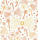 Nahtloses abstraktes Muster Netter Spitzehintergrund mit Herzen, Engelsflügeln, Lutschern, Sugarplums und Schneeflocken Stockfotos