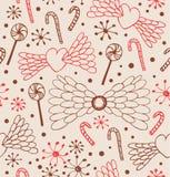 Nahtloses abstraktes Muster Netter Spitzehintergrund mit Herzen, Engelsflügeln, Lutschern, Sugarplums und Schneeflocken Stockfoto