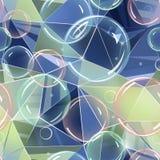 Nahtloses abstraktes Muster Seifenblasen auf einem Polygonmuster in den blauen Schatten Stockfotografie
