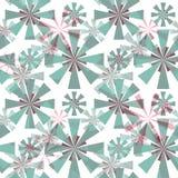 Nahtloses abstraktes Muster Stilisierter Türkis, Grau, rosa Blumen auf einem weißen Hintergrund Lizenzfreies Stockfoto