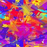 Nahtloses abstraktes Muster von mehrfarbigen Elementen stock abbildung