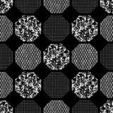 Nahtloses abstraktes Retro- geometrisches Muster Kopierte, strukturierte Hexagone im geometrischen Plan vektor abbildung