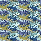 Nahtloses abstraktes Retro- geometrisches Muster Swirly-Verzierungen in den geometrischen Reihen lizenzfreie abbildung
