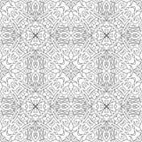 Nahtloses abstraktes Stammes- Schwarz-weißes Muster in der Monolinie Art Stockfotografie