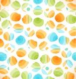 Nahtloses abstraktes ursprüngliches Muster mit Kreisen punktierte Mehrfarbenhintergrund Stockbilder