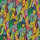 Nahtloses abstraktes von Hand gezeichnetes Grasmuster, gewellt Lizenzfreies Stockbild
