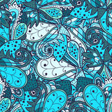 Nahtloses abstraktes von Hand gezeichnetes Wellenmuster Wellenförmiger Hintergrund Lizenzfreie Stockfotos
