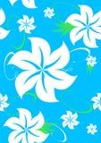 Nahtloses Aloha hawaiisches Muster auf Blau Lizenzfreie Stockbilder