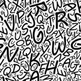 Nahtloses Alphabetmuster in einem cartooned Guss Stockbilder