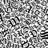 Nahtloses Alphabetmuster in einer gotischen Gussart Lizenzfreies Stockfoto
