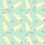 Nahtloses Aquarell des Musters mit den gelben und violetten Tannenbäumen und den violetten Sternen auf grünem Hintergrund vektor abbildung