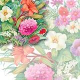 Nahtloses Aquarell-mit Blumenmuster mit Rosen und Wildflowers Stockbild