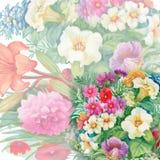 Nahtloses Aquarell-mit Blumenmuster mit Rosen und Wildflowers Lizenzfreie Stockfotos
