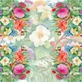 Nahtloses Aquarell-mit Blumenmuster mit Rosen und Wildflowers Lizenzfreies Stockfoto