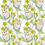 Nahtloses Aquarell Ostern-Muster mit Kaninchen, Pussyweide Lizenzfreie Stockfotos