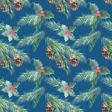 Nahtloses Aquarell Weihnachtsmuster Gezierte Zweige mit Kegeln vektor abbildung