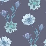 Nahtloses Aquarellblumenmuster Handgemalte Blumen auf einem wei?en Hintergrund Blumen f?r Auslegung Verzierungsblumen Nahtloses B lizenzfreie abbildung