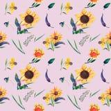 Nahtloses Aquarellmuster auf violettem Hintergrund Sonnenblumen, Blätter und wilde Kräuter Abbildung getrennt auf Weiß Lizenzfreie Abbildung