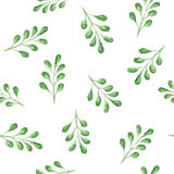 Nahtloses Aquarellmuster mit grünen Blättern Lizenzfreies Stockbild