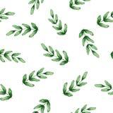 Nahtloses Aquarellmuster mit grünen Blättern Lizenzfreie Stockfotografie