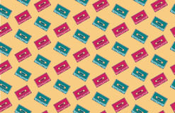 Nahtloses Audiokassettenmuster/-hintergrund Stockbilder