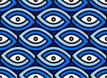 Nahtloses Augendiagramm Unmögliche Abbildung Blaue und weiße Augen mit Kontur stock abbildung