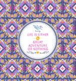 Nahtloses aztekisches Muster des Hippies mit geometrischen Elementen Stockbild