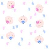 Nahtloses Baby Muster mit Babygesichtern Lizenzfreies Stockfoto