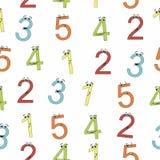 Nahtloses Babymuster mit netten bunten Zahlen mit Augen Stockfotografie
