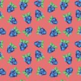 Nahtloses backgound Muster mit Waldbeere Blackberry auf Rosa Lizenzfreies Stockfoto