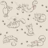 Nahtloses backround mit spielerischen Katzen Lizenzfreie Stockbilder
