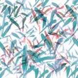 Nahtloses Bambusmuster des modernen Aquarells Schatten von Pastellblauem und rot stock abbildung