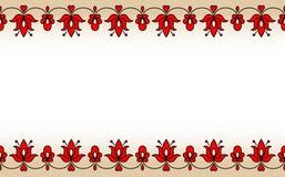 Nahtloses Band mit roten traditionellen ungarischen Blumenmotiven Lizenzfreie Stockfotografie