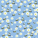 Nahtloses Bienen- und Blumenmuster Stockfoto