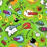 Nahtloses Blasenmuster der bunten Comics stock abbildung