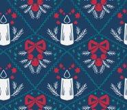 Nahtloses Blau des Weihnachtskerzenvektordamast-Musters lizenzfreie abbildung