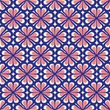 Nahtloses Blau und Coral Floral Pattern lizenzfreie abbildung