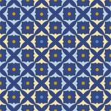 Nahtloses blaues abstraktes Muster mit den gelben und blauen Shamrocks Stockbild
