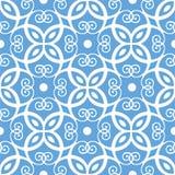 Nahtloses blaues Damastmuster Lizenzfreie Stockbilder